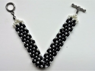 10 mins DIY Black and White  Bracelet. Beaded Jewelry Pattern- Beginners