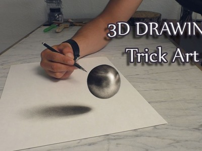 3D Art.Drawing of haver ball.Speed Painting Trick Art