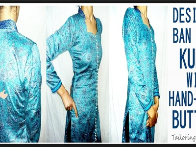 Ban Neck Kurti With Fancy Handmade Buttons | DIY - Tailoring With Usha