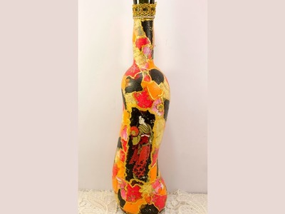 Decoupage bottle DIY how to decopatch ideas decopatch tutorial for beginners