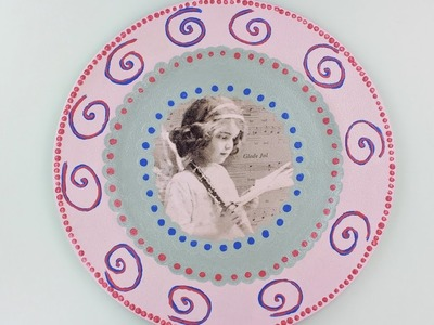 Decoupage plastic plate - Fast & Easy Tutorial - DIY