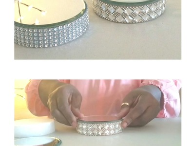 DIY: CRYSTAL.DIAMOND WEDDING CANDLE COASTER DECOR.DOLLAR TREE ITEMS