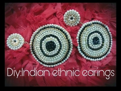 Diy ethnic earings partywear.how to make party wear earings at home with paper and cardboard easy !!