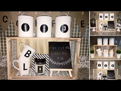 DIY Kitchen Decor. Coffee Station - Dollar Tree.Spot - Rustic.FarmHouse 2017