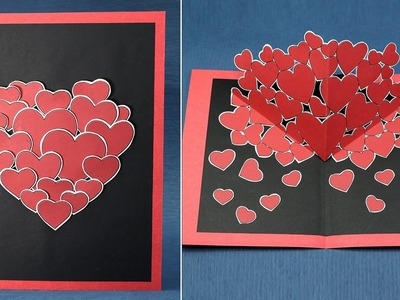 DIY Valentine Pop Up Card - How to Make Pop Up Hearts Card for Valentine's Day