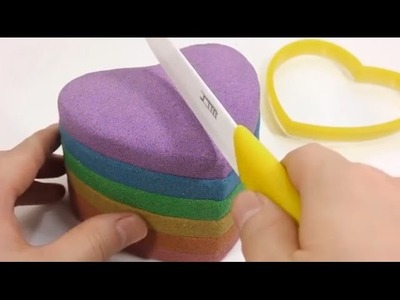 [Do It Yourself] Learn Color - DIY Heart Cake Rainbow colors from sand, clay !!!GREAT!!!