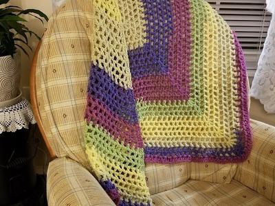 Easy Crocheted Lacy Shawl Tutorial