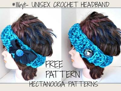 Free CROCHET  Pattern, Easy Beginner Unisex Headband, #1116yt  Easy Fabric bow