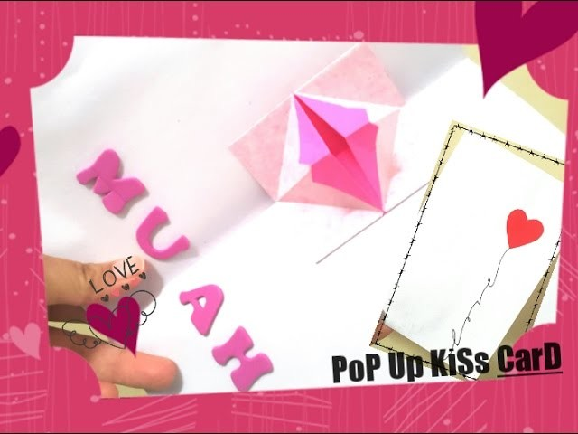 Homemade valentines day card - How to Make Pop Up Cute Valentine's day Card - DIY Kissing Lips Card