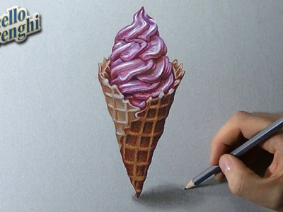 How to draw a 3D ice cream cone