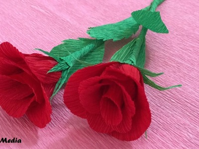 How to make  Beautiful crepe paper rose origami easy and Fast.craft paper flowers roses diy