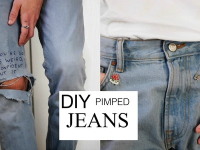 HOW TO PIMP UR DENIM JEANS within 5 minutes ||DIY QUOTE JEANS || TUTORIAL