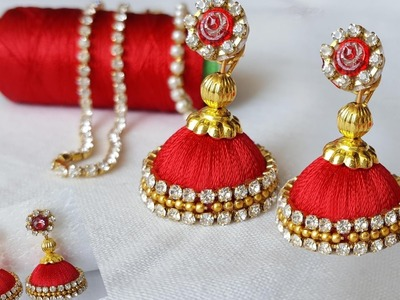 Making silk thread jhumkas at home. simple and easy. DIY