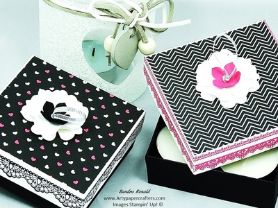 PRETTY HANDMADE GIFT BOX with Ribbon Pull Lid using Stampin' Up! products