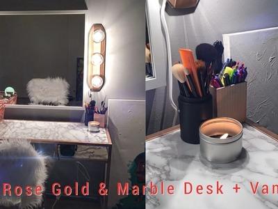 Apartment Hack   DIY Rose Gold & Marble Desk, Fur Chair + Vanity  Office Makeover