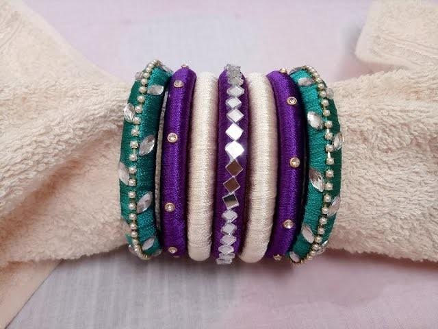 D.I.Y. bangles.How to make silk thread bangle set