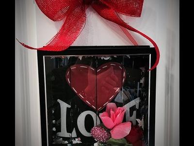 DIY: Dollar Tree Valentine Shadow Box - 15 Minutes Start to Finish!