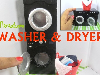 DIY Paper and Polymer Clay (optional) Dollhouse Miniature Stackable Washer, Dryer,  Hamper Tutorial