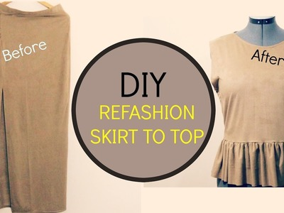 Diy refashion thrift store skirt to top