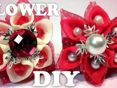 DIY ribbon flower. DIY flower with beads, kanzashi