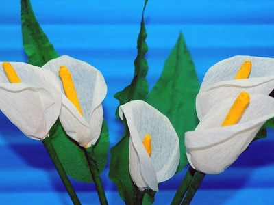 Easy Flowers making. How To Make Calla Lily Flower From Crepe Paper - Craft Tutorial. Julia DIY