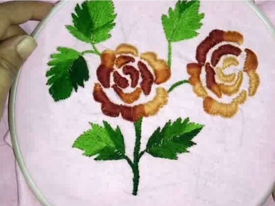 Hand embroidery how to make embossed rose flowers