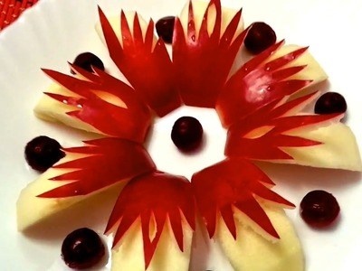 HOW TO CARVE APPLE BEAUTIFUL - FRUITS CARVING & APPLE GARNISH - ART IN APPLE - APPLE LEAF