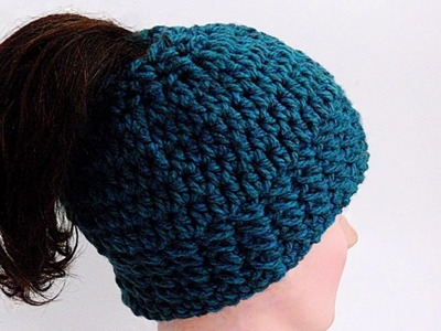 How to Crochet a Messy Bun Hat, Head Band, Full Hat, Chunky, Free Pattern 4 Sizes