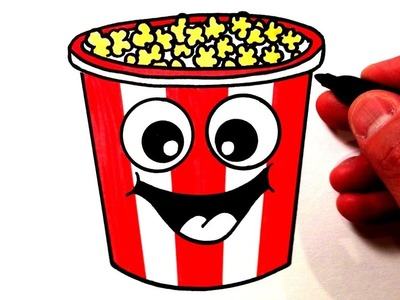 How to Draw a Cute Bucket of Popcorn