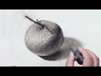 How to draw a mandarin orange with Charcoal