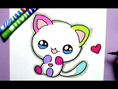 HOW TO DRAW CUTE RAINBOW CAT - COMO DIBUJAR UN GATO KAWAII