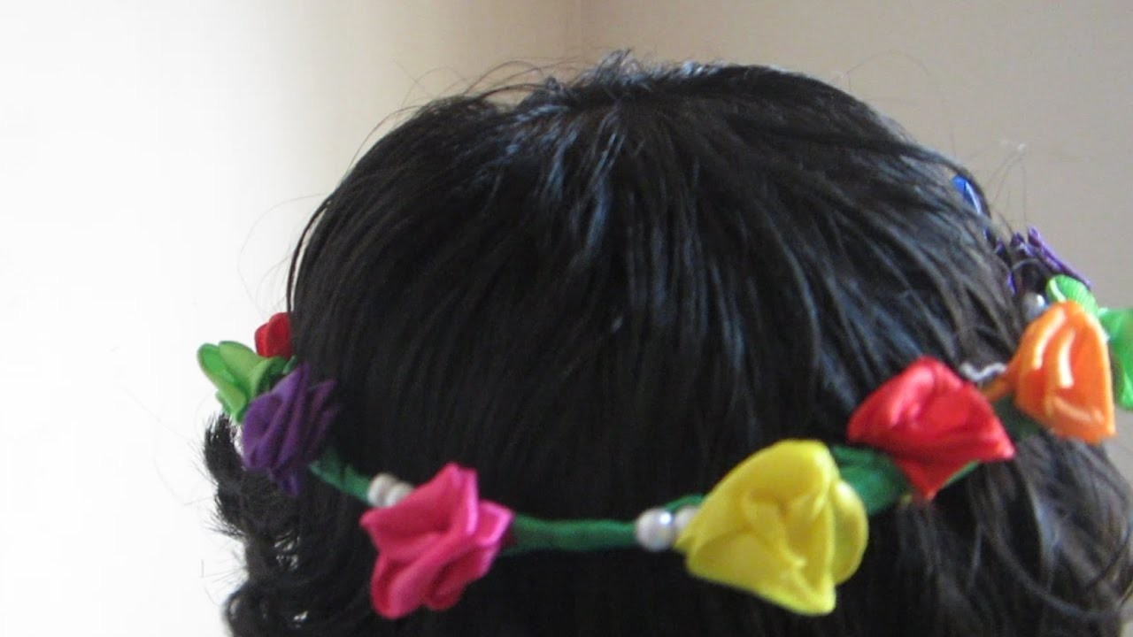 How to make a Flower Crown with satin ribbon | how to make a tiara at home without glue