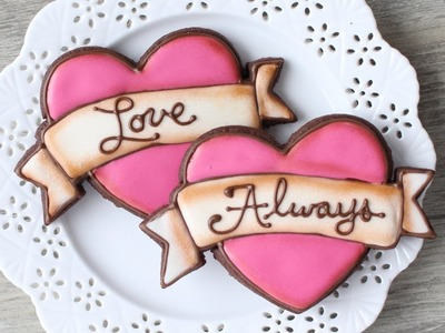 How to make a Tattoo Style Heart Cookie - Easy Valentine's Day cookies