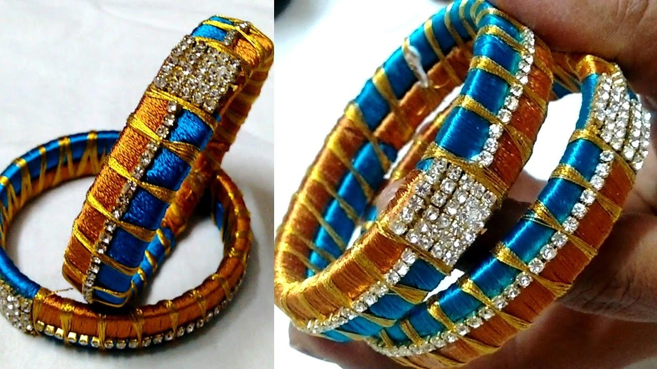 HOW TO MAKE DESIGNER DOUBLE COLOUR SILK THREAD BANGLES || CRAFTS LOT