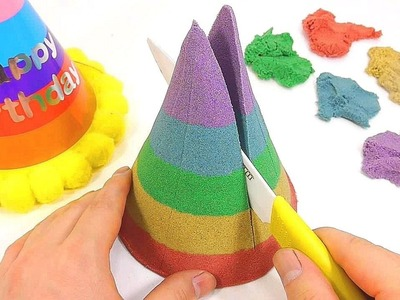 How To Make Kinetic Sand Birthday Party Hat Cake Learn Color Slime Clay Icecream Five Little Piggies