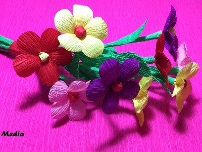 How to Make origami Crepe Paper Flowers   Flower Making of Crepe Paper   Paper Flower Tutorial