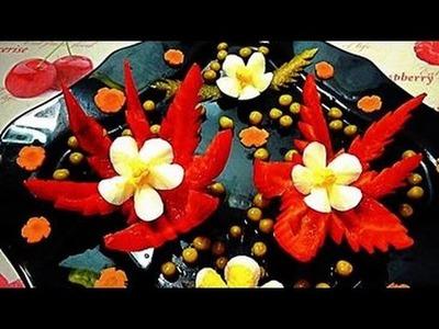 HOW TO MAKE PEPPER FLOWER - PEPPER GARNISH & VEGETABLE CARVING - ART IN PEPPER