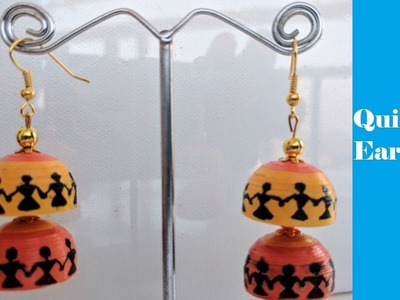 How to make Quilling Earrings   Warli Painting   Tutorial