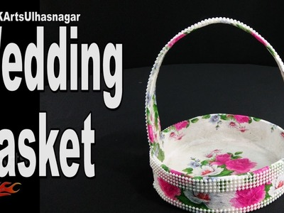 How to make Wedding Basket | Decoupage trousseau basket making | JK Arts 1165