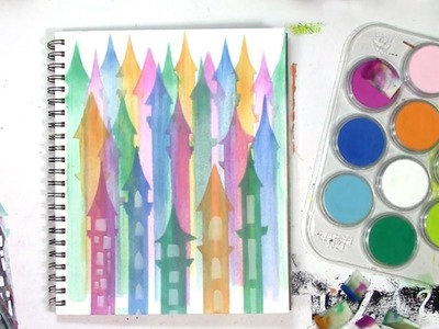 How to use PanPastels with baby wipes and a stencil of castle towers