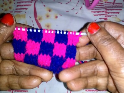 Learn 4 by 4 pattern Design of Blue & Pink colour Sweater in HINDI