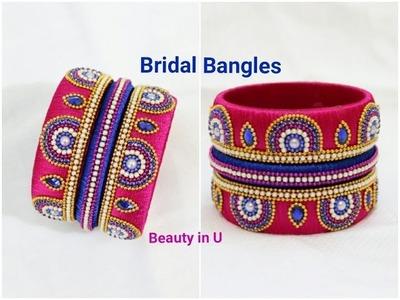 Making of Designer Silk Thread Bridal Bangles at Home | Tutorial