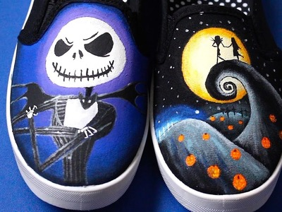 Nightmare Before Christmas Painted Shoes! Glow In The Dark!