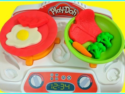 Play Doh Sizzlin' Stovetop Kitchen Creations!  DIY Play Doh Food!  NEW 2017 Play Doh Toys!