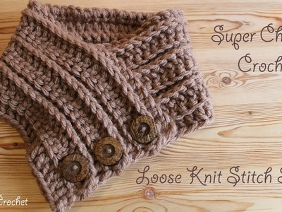 Super chunky crochet - simple loose knit stitch scarf (step by step)