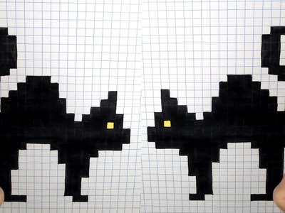 Halloween Pixel Art - How To Draw Black Cats #pixelart