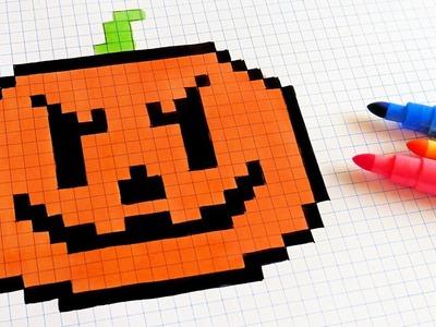Halloween Pixel Art - How To Draw a Pumpkinhead #pixelart