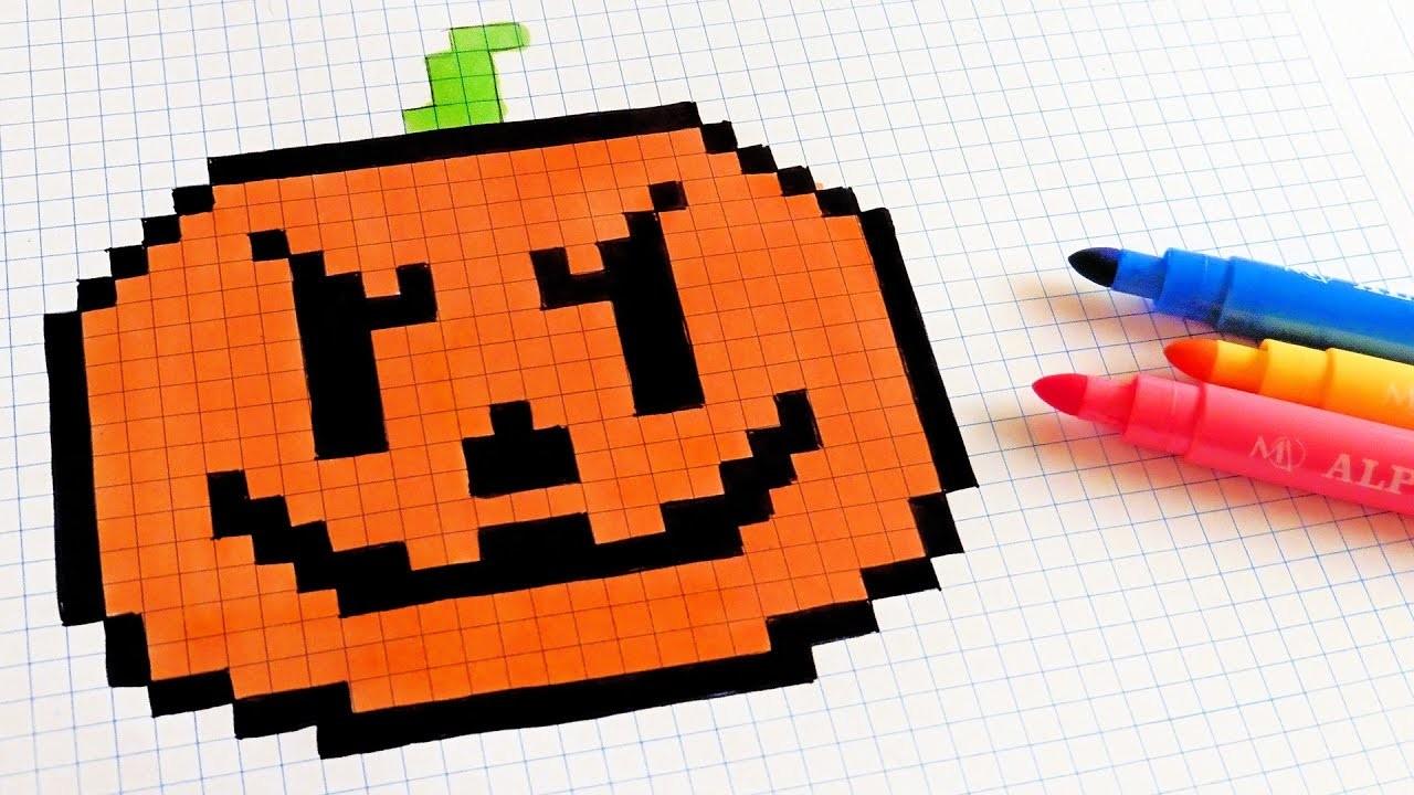 Halloween Pixel Art - How To Draw a Pumpkinhead #pixelart, My ...