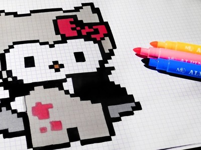 Halloween Pixel Art - How To Draw Vampire Hello Kitty #pixelart