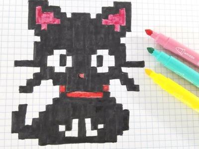 Handmade Pixel Art-Como dibujar gatito- How to draw black cat